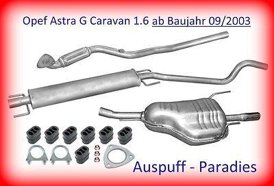 Abgasanlage ab Kat. Auspuff für Opel Astra G 1.6 Caravan F35_ ab Bj 09/2003 +Kit
