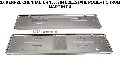 2x Kennzeichenhalter Nummernschildhalter Edelstahl Chrom Rostfrei Made in EU (51