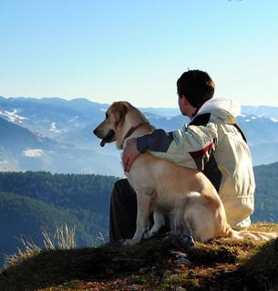 hund-mit-mensch-auf-berg