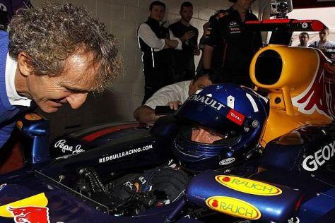 Neben Damon Hill durfte auch Alain Prost den Red-Bull-Boliden ausprobieren
