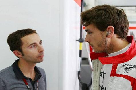 Hoffen auf eine Ferrari-Zukunft: Jules Bianchi mit seinem Manager Nicolas Todt