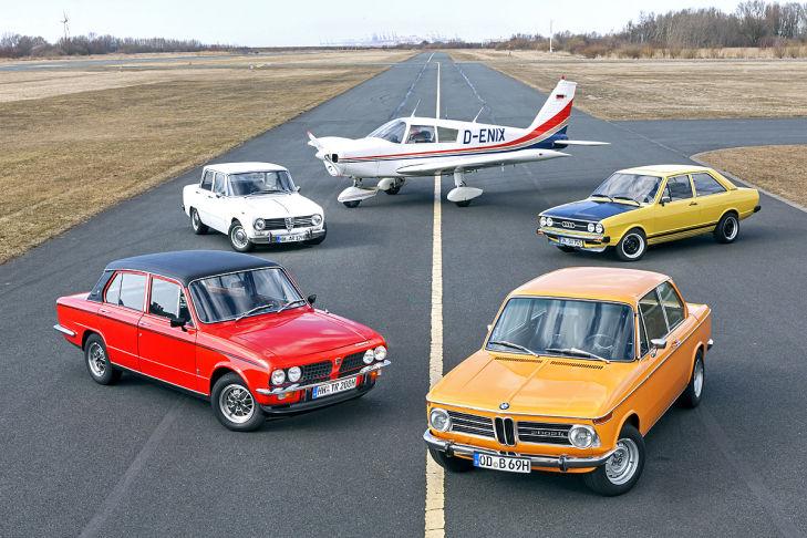 Alfa Romeo Giulia 1600 Super, Audi 80 GTE, BMW 2002 ti, Triumph Dolomite Sprint