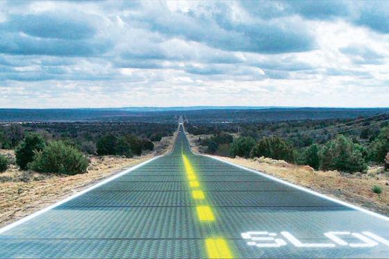 Straße aus Solarzellen