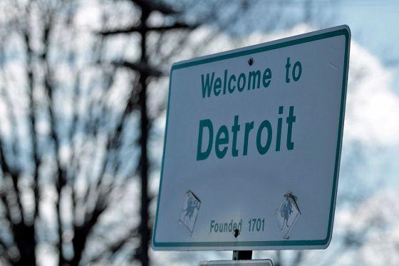 Ortsschild Detroit