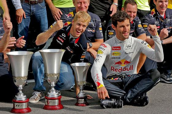 Sevbastian Vettel und Mark Webber nach der Siegerehrung beim GP von Monza 2013