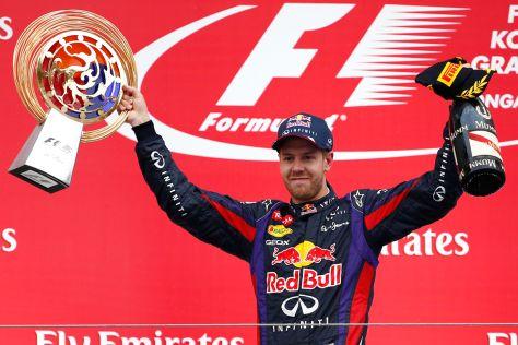 Sebastian Vettel nach seinem Sieg beim GP von Südkorea (2013)