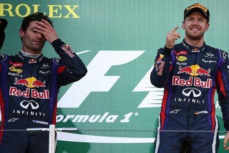 Gewohntes Bild - auch in Suzuka: Vettel jubelt, Webber zieht den Kürzeren