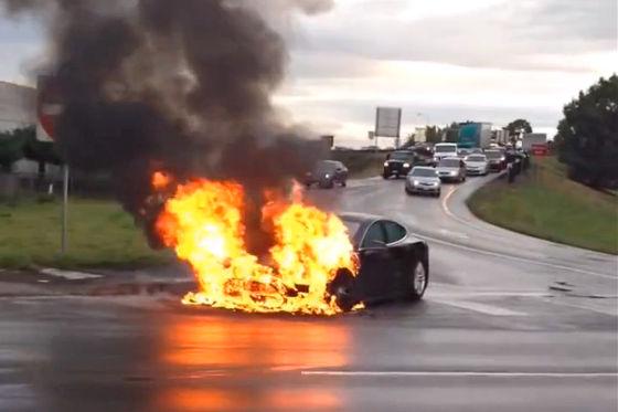 Brennendes Tesla Model S