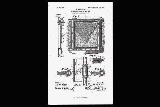 Patentblatt der ersten funktionierenden Scheibenwischanlage der Welt 1903 von Erfinderin Mary Anderson
