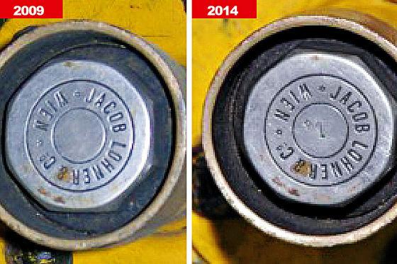 Bilder von Achsnabe mit und ohne angebrachter Kennzeichnung