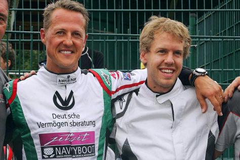 Michael Schumacher und Sebatian Vettel auf der Kartbahn in Kerpen