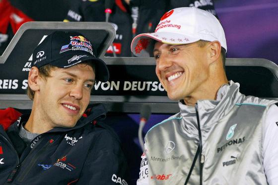 Sebastian Vettel und Michael Schumacher 2012 auf dem Hockenheimring