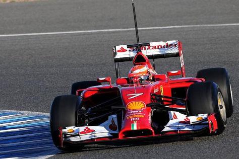 Kimi Räikkönen wieder in Rot - und auf Anhieb mit der schnellsten Runde in Jerez