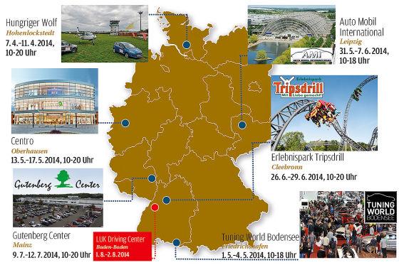 Deutschlands beste Autofahrer 2014: Veranstaltungsorte