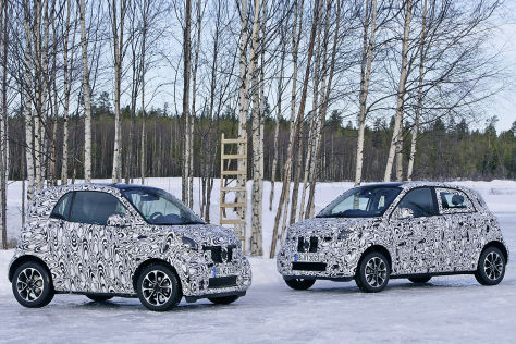 smart im schnee fortwo und forfour bei letzten tests. Black Bedroom Furniture Sets. Home Design Ideas