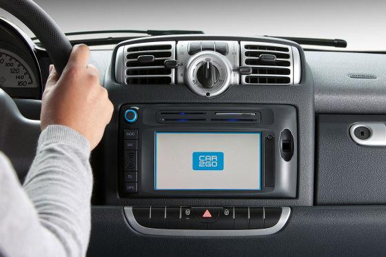 Car2Go-Fahrzeug mit Touchscreen
