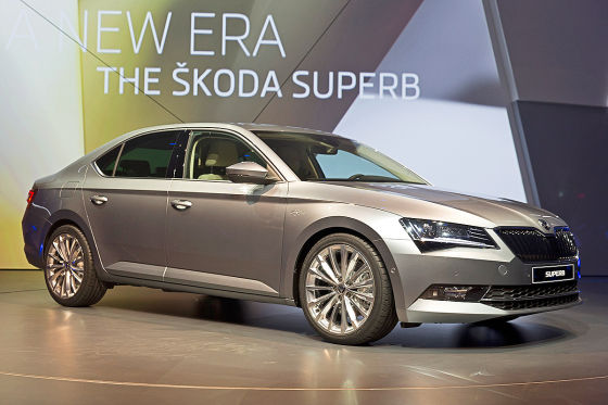 Skoda Superb   The third generation of Skoda Superb, flagship of Czech carmaker Skoda Auto, was unveiled to journalists for the first time during ceremony at Forum Karlin, in Prague, Czech Republic, on Tuesday, Feb. 17, 2015