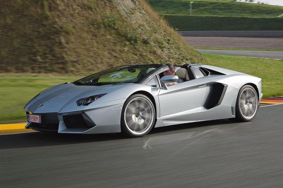 Lamborghini Aventador Roadster silber Seitenansicht