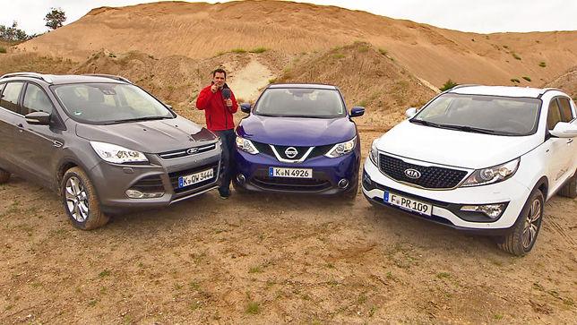 video: ford kuga vs. nissan qashqai vs. kia sportage - autobild.de