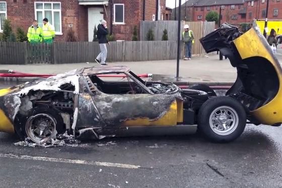 Lamborghini Miura abgefackelt