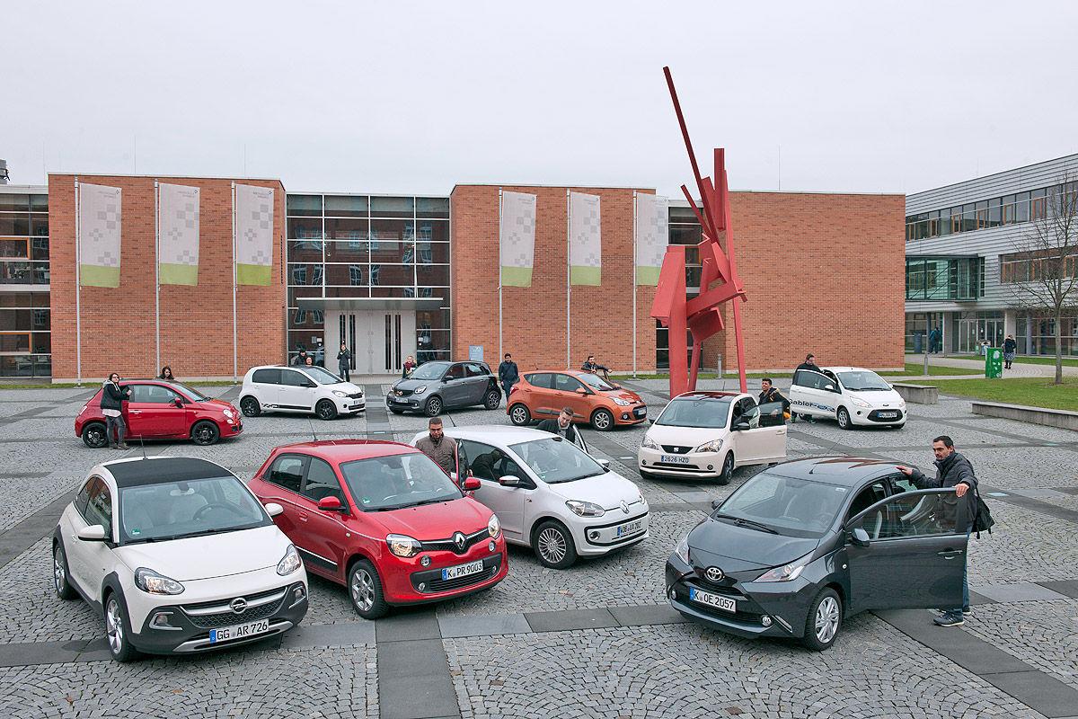 Ford Ka, Smart forfour, Skoda Citigo, Renault Twingo, Opel Adam, Hyundai i10, VW Up, Toyota Aygo, Seat Mii, Fiat 500