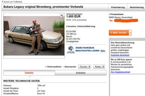 Strombergs Dienstwagen Subaru Legacy im Netz - autobild.de