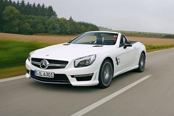 Mercedes SL 63 AMG weiß Frontansicht