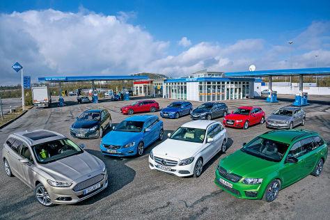 Hyundai i40 Kombi, BMW 335d Touring, VW Passat Variant 2.0 TD, Mazda6 Skyactiv-D, Opel Insignia Sports Tourer 1.6, Volvo V60, Ford Mondeo Turnier 2.0, Skoda Octavia RS Combi, Mercedes C-Klasse T-Modell, Audi A4 Avant 2.0 TDI