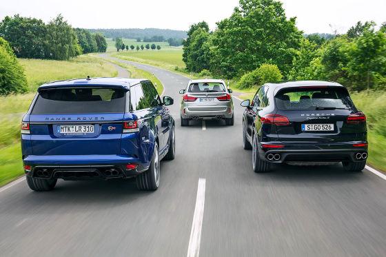 BMW X5 M Porsche Cayenne Turbo S Range Rover Sport SVR