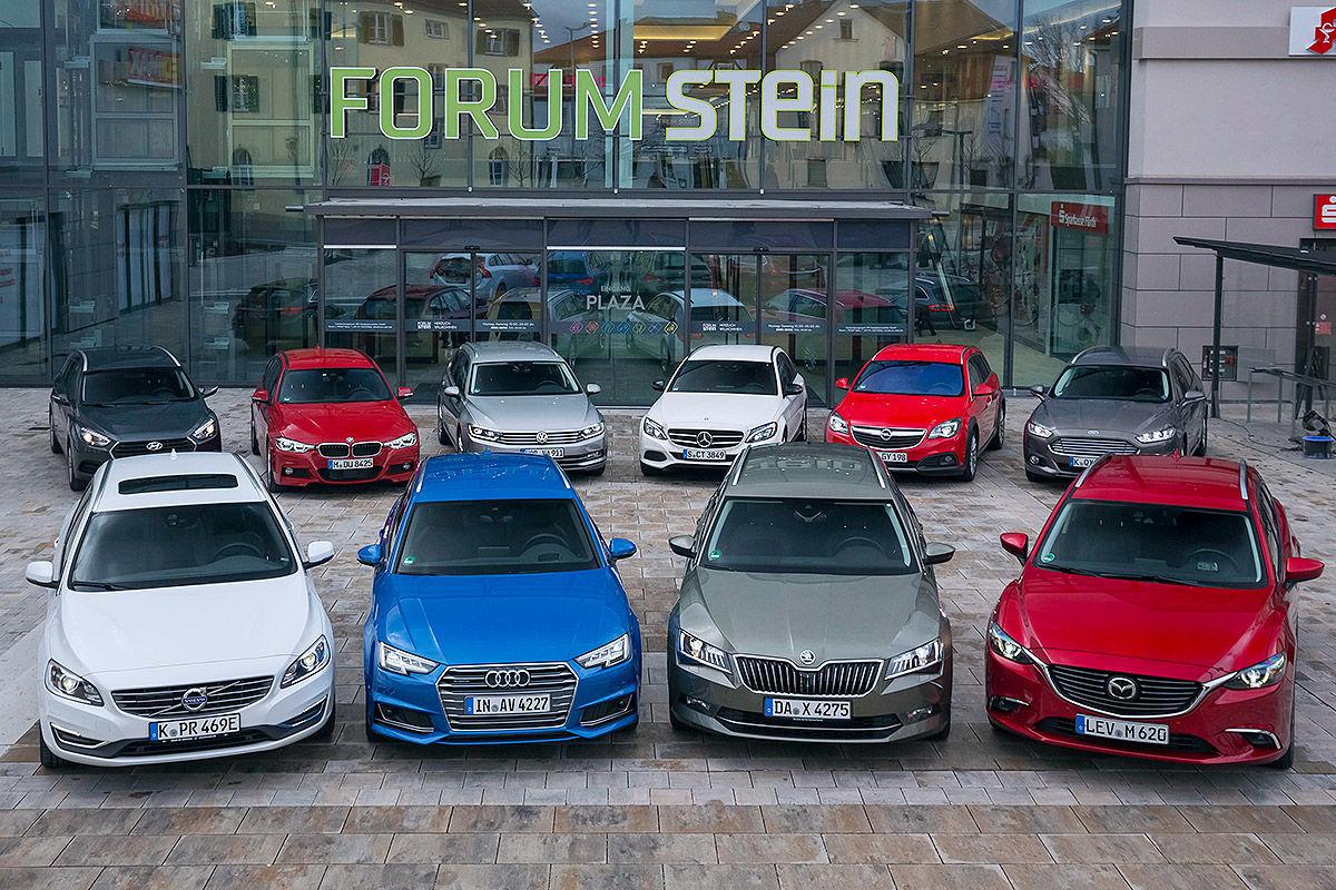 Hyundai i40 Kombi, Mazda6 Kombi, Volvo V60 Tourer, Audi A4 Avant, Skoda Superb Combi, BMW 3er Touring, VW Passat Variant, Mercedes C-Klasse T-Modell, Opel Insignia Sports, Ford Mondeo Turnier