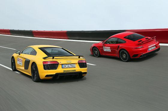 Supersportwagen Audi R8 V10 Plus Vs Porsche 911 Turbo S Autobild De