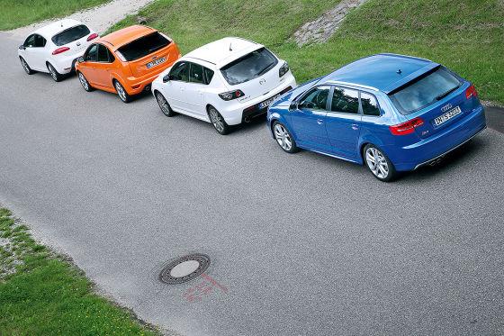 Seat Leon Cupra, Audi S3 Sportback, Ford Focus ST, Mazda3 MPS