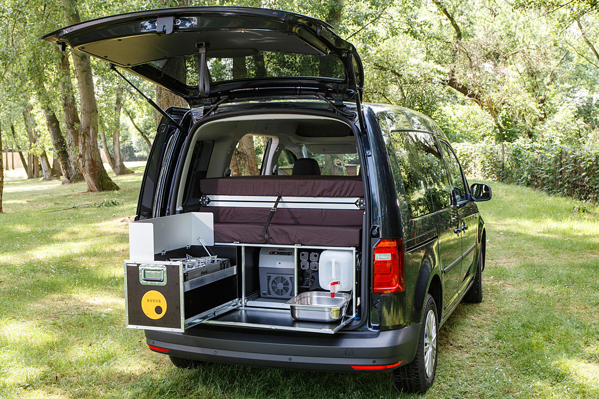ququq campingbox im vw caddy bilder. Black Bedroom Furniture Sets. Home Design Ideas