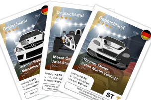 Deutsche WM-Stars als Autos