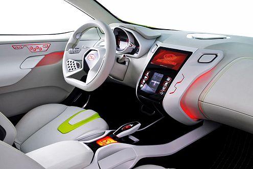 Cockpit von morgen: ultramoderner Bildschirm in der Zentralkonsole
