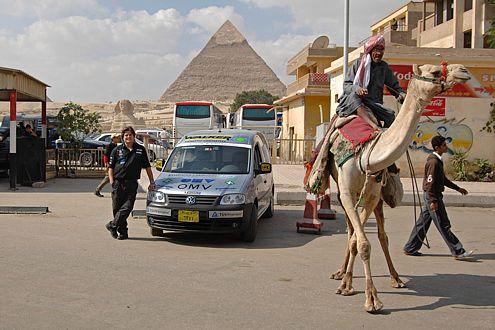 Zietlow vor den Pyramiden von Gizeh – das Kamel zeigt kein Interesse.
