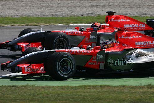 Adrian Sutil führt seine Zweikämpfe in den hinteren Reihen und hofft auf die B-Version seines Spyker-Boliden.