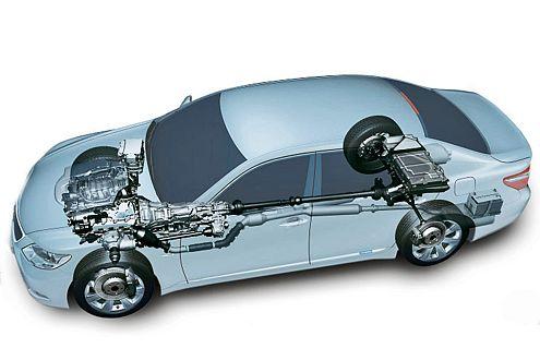 So sieht es unterm Blech aus: Der Lexus treibt alle vier Räder an.