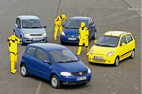 Die Testgruppe der Kleinwagen: Fox, Panda, Colt und Matiz.