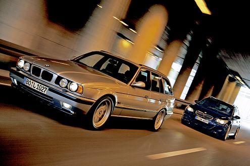 Zwei Laster mit Leistung: BMW M5 Touring Baujahr 1994 und 2007.