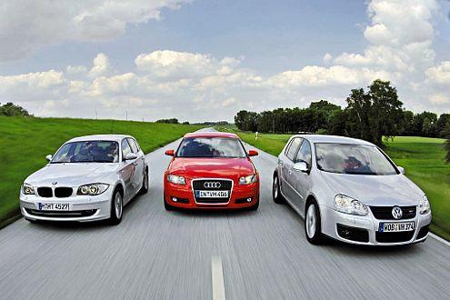 Dreimal Fahrspaß mit gutem Öko-Gewissen: Audi A3, BMW 1er und VW Golf.