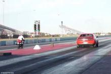 Drag-Rennen: Dodge Demon vs. Suzuki Hayabusa