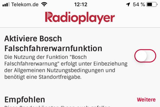 Radioplayer-App warnt vor Falschfahrern