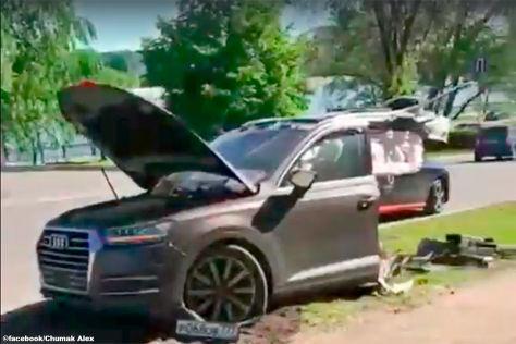 Audi Q7: Fahrer überlebt brutalen Unfall