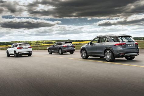Mercedes-GLE-BMW-X5-VW-Touareg-Test-Premium-SUVs-Enger-Dreikampf-GLE-vs-X5-und-Touareg