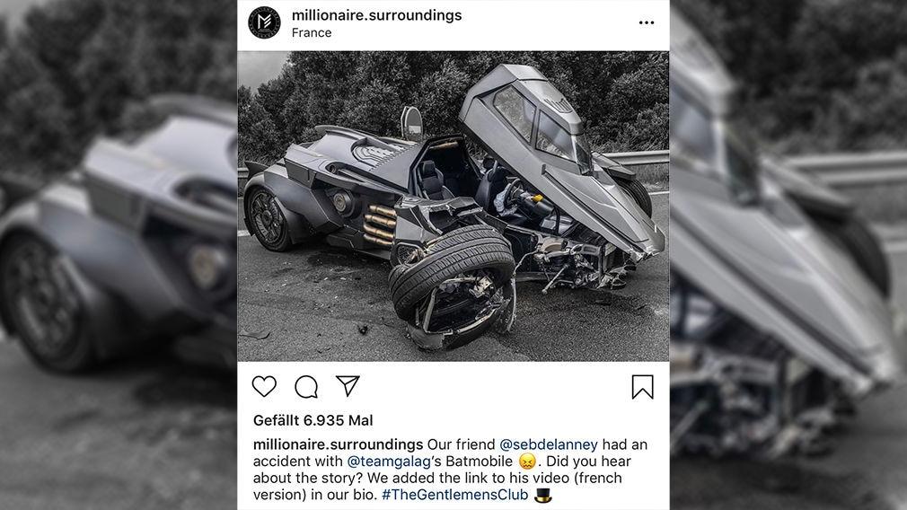 Batmans Auto: Crash in Frankreich