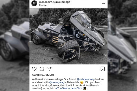 Batmans Auto: Crash in Frankreich