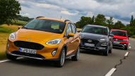 Ford Fiesta Active, Hyundai Kona, VW T-Cross: Test