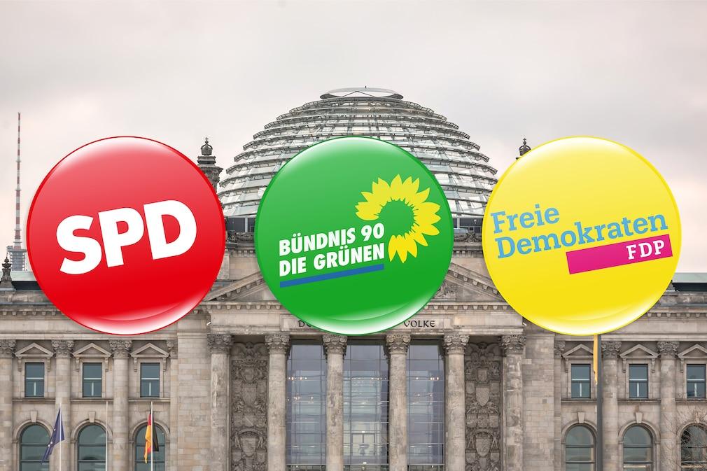 Logos von SPD, Grüne und FDP vor dem Bundestag