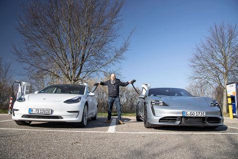 Ladezeiten: Porsche vs. Tesla (BILDplus)